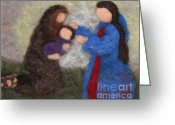 Jesus  Tapestries - Textiles Greeting Cards - Creche Scene Greeting Card by Nicole Besack
