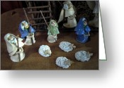 Sheep Ceramics Greeting Cards - Creche Shepards and Sheep Greeting Card by Nancy Griswold