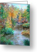 Swimming Hole Greeting Cards - Creek at Whitney Point  NY Greeting Card by Ethel Vrana