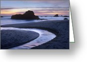 Time Stack Greeting Cards - Creek Flowing Into Ocean At Harris Greeting Card by Tim Fitzharris