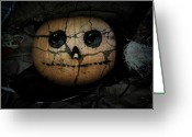 Trick Greeting Cards - Creepy Halloween Pumpkin Greeting Card by Gravityx Designs