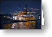 Mississippi River Scene Greeting Cards - Creole Queen Riverboat Greeting Card by Bonnie Barry