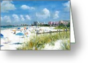 Umbrella Painting Greeting Cards - Crescent Beach on Siesta Key Greeting Card by Shawn McLoughlin