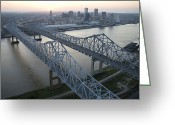 Mississippi River Scene Greeting Cards - Crescent City Connection Bridge Greeting Card by Tyrone Turner