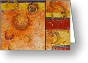 Experimental Mixed Media Greeting Cards - Crescent Maze Greeting Card by Phyllis Howard