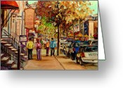 Resto Cafes Greeting Cards - Crescent Street Montreal Greeting Card by Carole Spandau