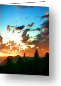 Hyper-realism Greeting Cards - Crest Sunset Greeting Card by Jann Paxton