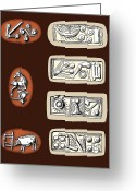The Language Greeting Cards - Cretan Symbols, 5th To 6th Centuries Bc Greeting Card by Sheila Terry