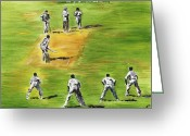 Green Field Painting Greeting Cards - Cricket Duel Greeting Card by Richard Jules