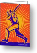 Vector Digital Art Greeting Cards - Cricket Sports Batsman Batting Greeting Card by Aloysius Patrimonio