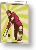 Player Greeting Cards - Cricket Sports Batsman Batting Retro Greeting Card by Aloysius Patrimonio