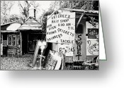 Flea Greeting Cards - Crickets Bait Shop Greeting Card by Scott Pellegrin