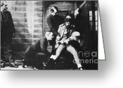 New York City Police Greeting Cards - Criminal Being Held Down For Mug Shot Greeting Card by Photo Researchers