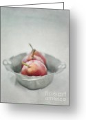 Hues Greeting Cards - Crimson And Silver Greeting Card by Priska Wettstein
