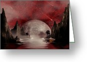 Scene Mixed Media Greeting Cards - Crimson Night Greeting Card by Anthony Citro