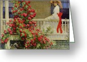Veranda Greeting Cards - Crimson Rambler Greeting Card by Philip Leslie Hale