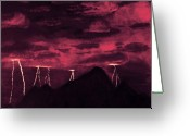 Storm Sculpture Greeting Cards - Crimson Storm Greeting Card by Dawn Hay