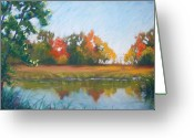 Woods Pastels Greeting Cards - Crisp Autumn Morning Spears Woods Greeting Card by Christine Kane