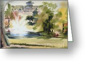 Water Colours Greeting Cards - Crisp Water Fountain at the Baptist Home III Greeting Card by Kip DeVore