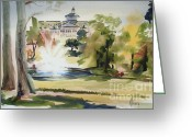 Water Colours Greeting Cards - Crisp Water Fountain at the Baptist Home  Greeting Card by Kip DeVore