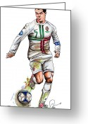 National Drawings Greeting Cards - Cristiano Ronaldo Greeting Card by Dave Olsen