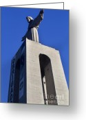 Large Steel Cross Greeting Cards - Cristo Rei Greeting Card by Andre Goncalves