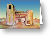 Tj Shinas Greeting Cards - Cristo Rey Church Santa Fe Greeting Card by TJ Shinas