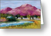 Landscapes Pastels Greeting Cards - Cristo Rey from the Valley Greeting Card by Candy Mayer