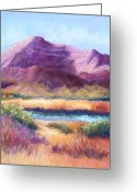 River Pastels Greeting Cards - Cristo Rey in Autumn Greeting Card by Candy Mayer