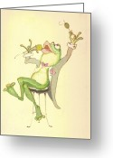 Karaoke Greeting Cards - Croaky Karaoke Greeting Card by Peggy Wilson