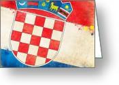 Retro Pastels Greeting Cards - Croatia Flag Greeting Card by Setsiri Silapasuwanchai