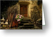 Entrance Door Greeting Cards - Croatian Stone House Greeting Card by Don Wolf