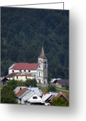 Village Church Greeting Cards - Croatian Village Church Greeting Card by Don Wolf