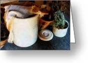 Crocks Photo Greeting Cards - Crock and Basket Greeting Card by Susan Savad