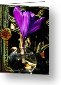 March Greeting Cards - Crocus in a Bottle Greeting Card by Chris Berry