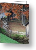 Split Rail Fence Greeting Cards - Crooked fence Greeting Card by Living Waters Photography