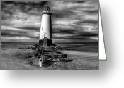 Beacon Greeting Cards - Crooked Lighthouse Greeting Card by Adrian Evans