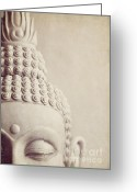 Indoors Home Greeting Cards - Cropped stone Buddha head statue Greeting Card by Lyn Randle