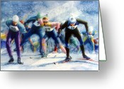 Ski Art Painting Greeting Cards - Cross-Country Challenge Greeting Card by Hanne Lore Koehler