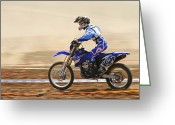 Motorcycle Racing Greeting Cards - Cross Country Motorbike Racing Greeting Card by Photostock-israel