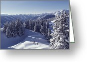 Snow Scenes Greeting Cards - Cross-country Skiing In Aspen, Colorado Greeting Card by Annie Griffiths