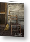 Wood Plank Flooring Greeting Cards - Cross Creek Broom and Chair Greeting Card by Lynn Palmer
