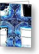 Faith Greeting Cards - Cross in blue Greeting Card by Susanne Van Hulst