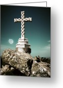 Pena Greeting Cards - Cross in moonlight Greeting Card by Carlos Caetano