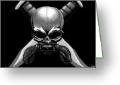 Freedom Fighter Brand Greeting Cards - Cross Knifed Skull Greeting Card by Scarlett Royal