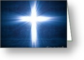 Divine Greeting Cards - Cross Light Greeting Card by Gualtiero Boffi