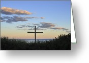 Terry Deluco Greeting Cards - Cross on Beach Greeting Card by Terry DeLuco