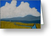 Open Road Painting Greeting Cards - Cross Roads Greeting Card by Robert Anthony Montesino