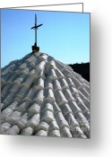 Tiled Roof Greeting Cards - Cross Silhouette Greeting Card by Therese Alcorn