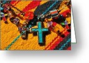 Native American Rug Greeting Cards - Crosses Southwest Greeting Card by Karen Slagle